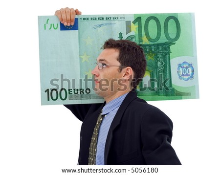 Businessman carrying a big hundred euro - stock photo