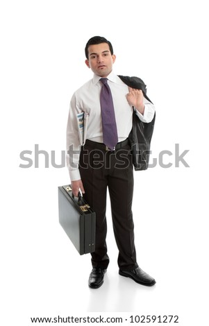 Businessman carrying a briefcase with newspaper under arm. - stock photo