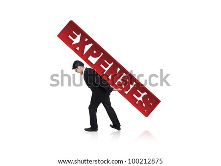 Businessman carrying a large version of the word Expenses on his back