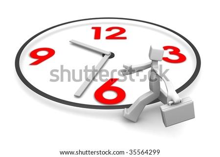 Businessman carrying briefcase run around a clock 3d illustration - stock photo