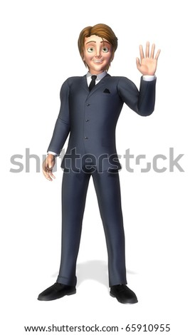 businessman cartoon hi - stock photo