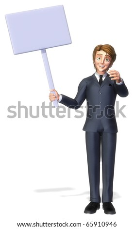 businessman cartoon holding a sign 2 - stock photo