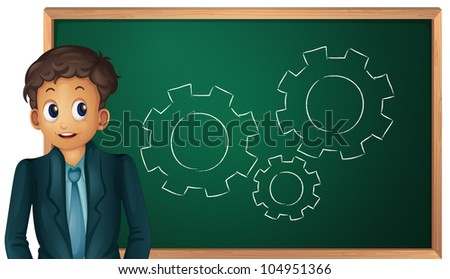 Businessman cartoon presenting on blackboard - EPS VECTOR format also available in my portfolio. - stock photo