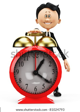 businessman cartoon wake up - stock photo