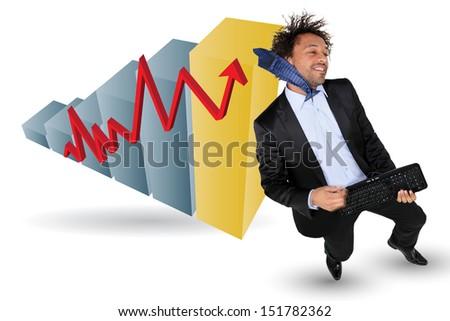 Businessman celebrating up - stock photo
