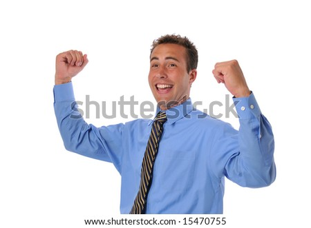 Businessman celebrating victory against a white background - stock photo