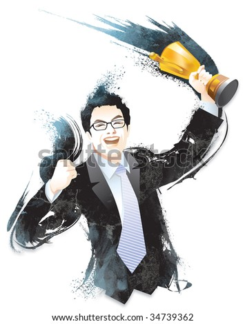 Businessman celebrating with trophy in hand - stock photo