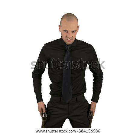 Businessman challenging isolated - stock photo