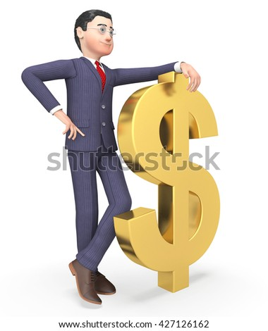 Businessman Character Showing American Dollars And Prosperity 3d Rendering - stock photo