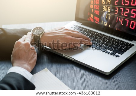 Businessman checking the time And computer-based on Work desk. - stock photo