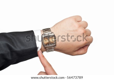businessman checking the time isolated on white - stock photo