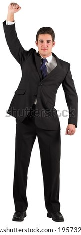 Businessman cheering at the camera on white background - stock photo