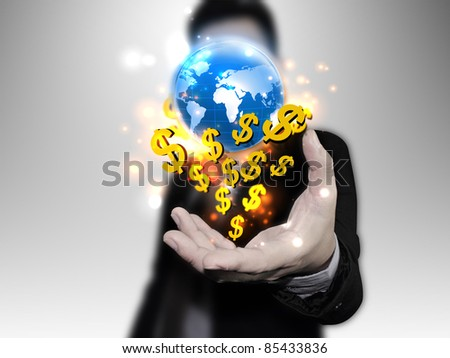 businessman chooses US dollar sign - stock photo