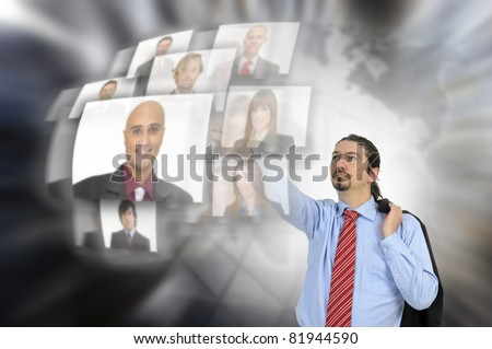 Businessman choosing employees with modern technology - stock photo