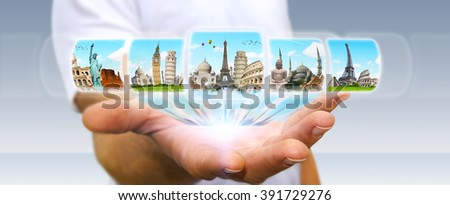 Businessman choosing his holidays between different places of the world - stock photo