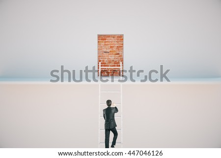 Businessman climbing ladder to escape from prison. Freedom concept