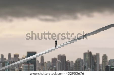 Businessman climbing on a ladder over a city looking ahead, Leadership concept