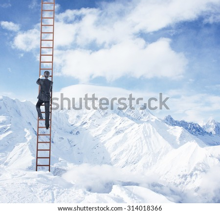 businessman climbing on ladder and mountains - stock photo