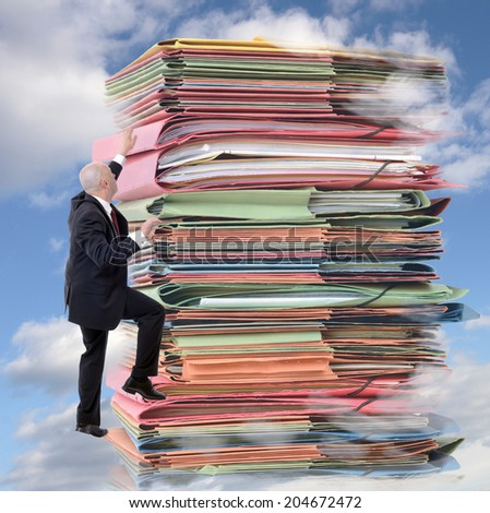businessman climbing pile of endless paperwork (digital composite) - stock photo