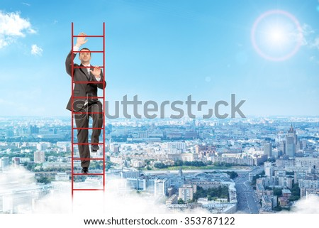 Businessman climbing red ladder on blue sky background - stock photo