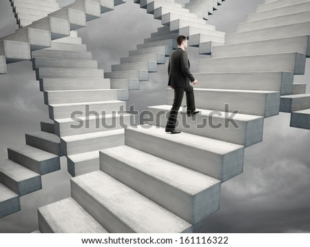 businessman climbing stairs in bad weather