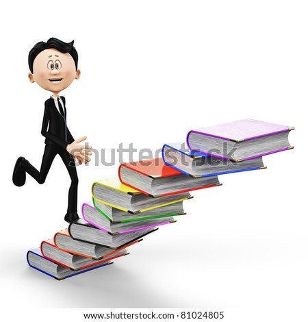 businessman climbing the books - stock photo