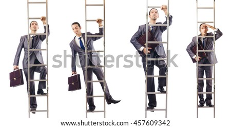 Businessman climbing the ladder isolated on white
