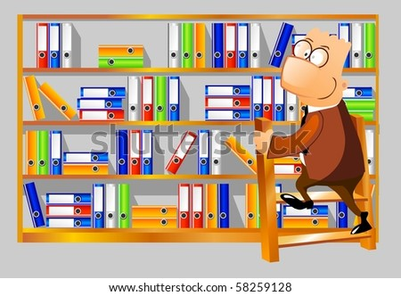 Businessman climbing up the ladder to the shelves with folders.