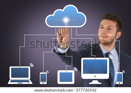 Businessman Cloud Computing on Screen - stock photo