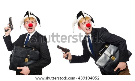 Businessman clown in funny concept isolated on white - stock photo