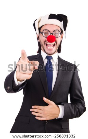 Businessman clown pointing isolated on white - stock photo