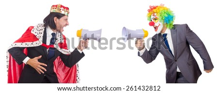 Businessman clown with loudspeaker on white - stock photo