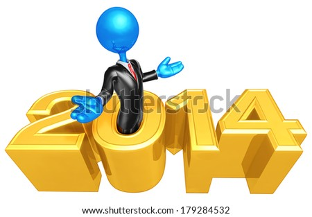 Businessman Coming Out Of Year - stock photo