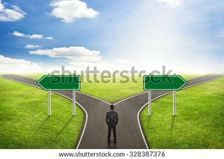 Businessman concept, Blank sign post on road the correct way. - stock photo