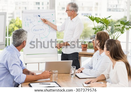 Businessman conducting presentation to colleagues in the office - stock photo