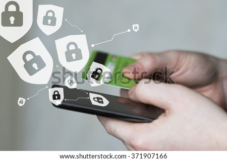Businessman confirms security shield virus locked confidential credit card - stock photo