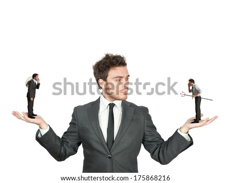 Businessman confused between being good or bad - stock photo