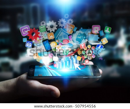 Businessman connecting icons applications to his phone 3D rendering