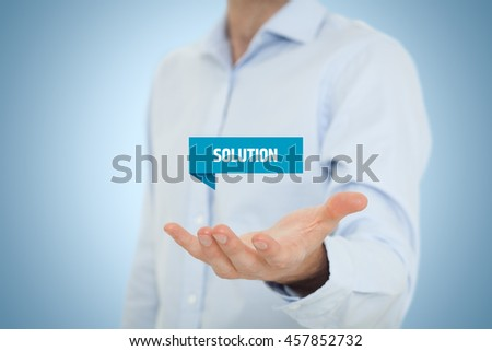 Businessman, consultant or support employee give you a business solution (helping hand). - stock photo