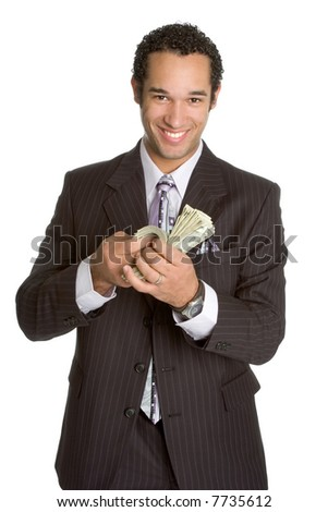 Businessman Counting Money - stock photo