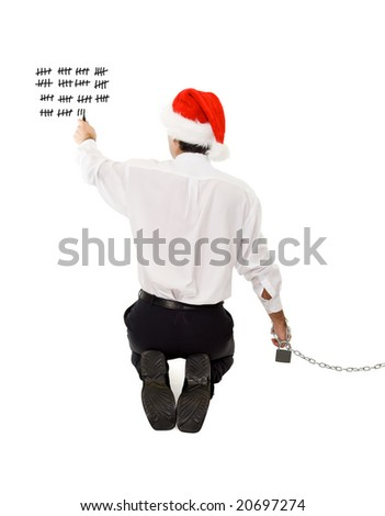 Businessman counting the days until christmas and the holidays - isolated - stock photo