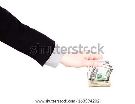 Businessman counts money in hands american hundred dollar bills isolated