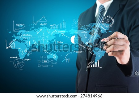 Businessman creative drawing on world map chart and graphs, Business success strategy plan idea concept - stock photo