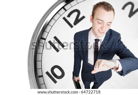 Businessman deadline - stock photo