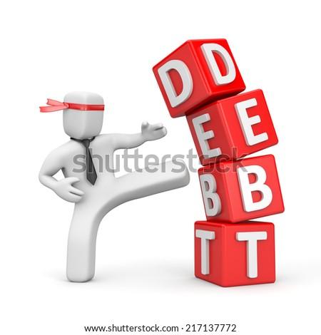 Businessman destroying the pyramid of debt - stock photo