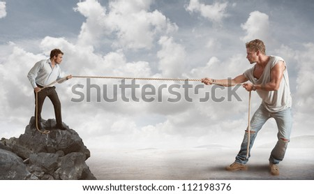 Businessman determined to tackle challenges - stock photo