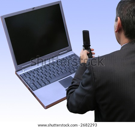 Businessman disconnecting from the local area network