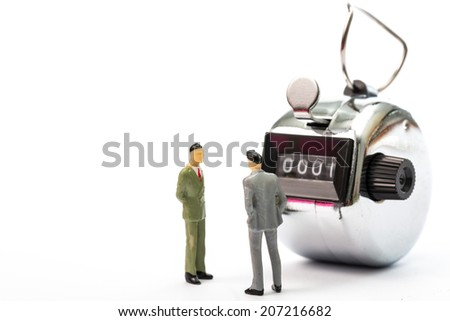 businessman discussed for start count customer income with white background