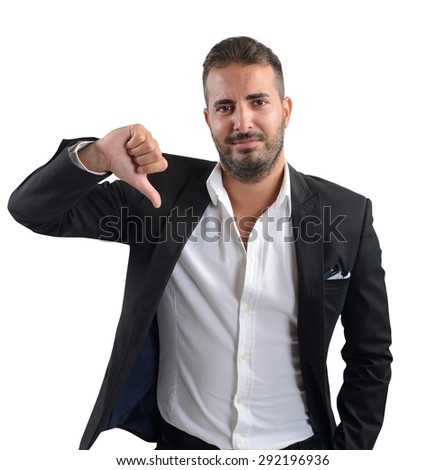 Businessman dissatisfied and negative of his investments - stock photo