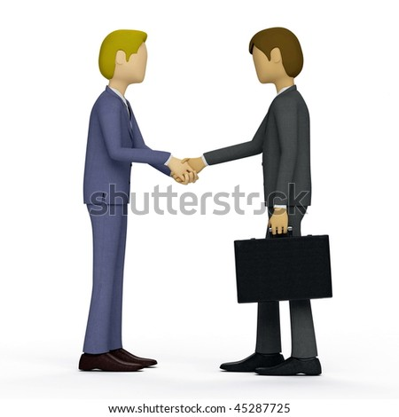Businessman doing a handshake as symbol of the deal is closed or a welcome, or a congratulation. - stock photo